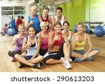 portrait of group of gym... | Shutterstock . vector #290613203