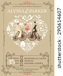 cute wedding invitation design... | Shutterstock . vector #290614607