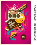 summer party poster with... | Shutterstock .eps vector #290635937