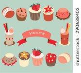 yummy cake vector illustrations. | Shutterstock .eps vector #290638403
