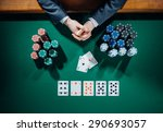poker player's hands with cards ...   Shutterstock . vector #290693057