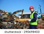 worker on junkyard. copy space... | Shutterstock . vector #290698403