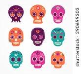 colorful patterned skull set ... | Shutterstock .eps vector #290699303