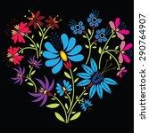 color folk floral pattern in...   Shutterstock .eps vector #290764907