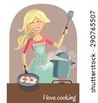 vector illustration of a happy... | Shutterstock .eps vector #290765507