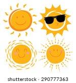 various smiling sun cartoon  | Shutterstock .eps vector #290777363