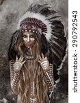 indian woman hunter | Shutterstock . vector #290792543