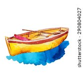 vector watercolor boat with... | Shutterstock .eps vector #290804027