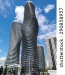 Small photo of MISSISSAUGA, CANADA - JUNE 24, 2015: Absolute World is a residential condominium twin tower skyscraper complex in the five tower Absolute City Centre development in Mississauga, Ontario, Canada.