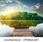 Fishing Pier On A River At The...