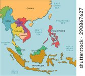south east asia map   vector... | Shutterstock .eps vector #290867627