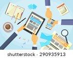 business people read newspaper  ... | Shutterstock .eps vector #290935913