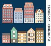 buildings icon set. flat design.... | Shutterstock .eps vector #290955053