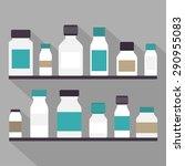 medicine bottles set. flat... | Shutterstock .eps vector #290955083