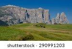 scillar schlern mountain ridge...   Shutterstock . vector #290991203