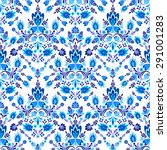 Vector Seamless Blue Floral...