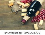 bottle of wine  grapes and... | Shutterstock . vector #291005777