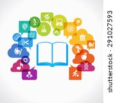 open books and icons of science.... | Shutterstock .eps vector #291027593