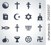 vector black religion icon set...   Shutterstock .eps vector #291035537