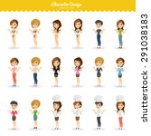 fashion girls illustration set | Shutterstock .eps vector #291038183