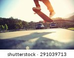 skateboarder legs doing a trick ... | Shutterstock . vector #291039713