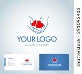 two hearts in hands. logotype... | Shutterstock .eps vector #291093413
