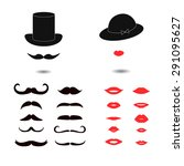 set of mustaches and lips. lady ... | Shutterstock .eps vector #291095627