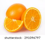 fresh orange isolated on white... | Shutterstock . vector #291096797