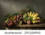 Still Life With Fruits On Wood...
