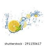 Lemons Slices In Water Splashe...