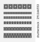 set of patterns for borders... | Shutterstock .eps vector #291166553