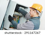 young adult electrician builder ... | Shutterstock . vector #291167267