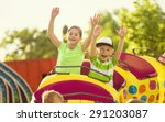boy and girl on a thrilling... | Shutterstock . vector #291203087