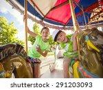 cute kids having fun riding on... | Shutterstock . vector #291203093