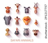 set of safari animals. flat... | Shutterstock .eps vector #291217757