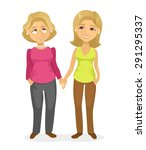 mom and daughter. vector flat... | Shutterstock .eps vector #291295337