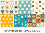 Stock vector cute animals vector pattern set illustrations on colored background 291342713