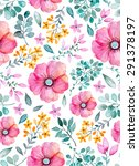 watercolor floral seamless... | Shutterstock .eps vector #291378197
