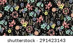 Seamless Pattern Sketch Flower...