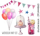 watercolor happy birthday party ... | Shutterstock .eps vector #291444863