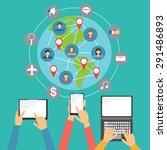 mobile connection social media... | Shutterstock .eps vector #291486893