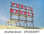 Neon Public Market Sign Agains...