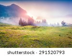 colorful sunrise in the foggy... | Shutterstock . vector #291520793