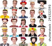 collage of many faces from same ... | Shutterstock . vector #291522593