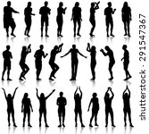 black silhouettes of beautiful... | Shutterstock . vector #291547367