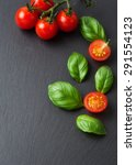 halved cherry tomatoes and... | Shutterstock . vector #291554123