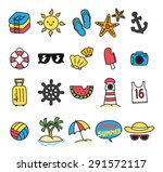 summer themed icon doodle | Shutterstock .eps vector #291572117