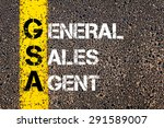 Small photo of Concept image of Business Acronym GSA as General Sales Agent written over road marking yellow paint line.