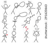 set of stick figure... | Shutterstock .eps vector #291620663