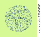 hand drawn healthy lifestyle... | Shutterstock .eps vector #291630503